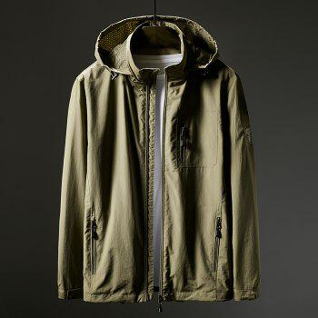 Hooded Zip Up Jacket - KHAKI 4XL