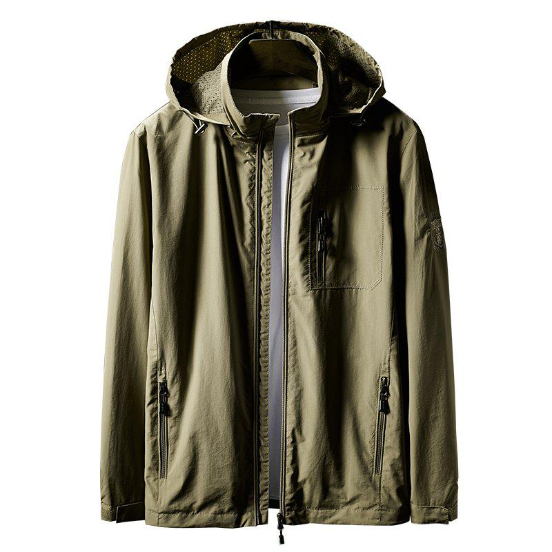 Hooded Zip Up Jacket - KHAKI 2XL