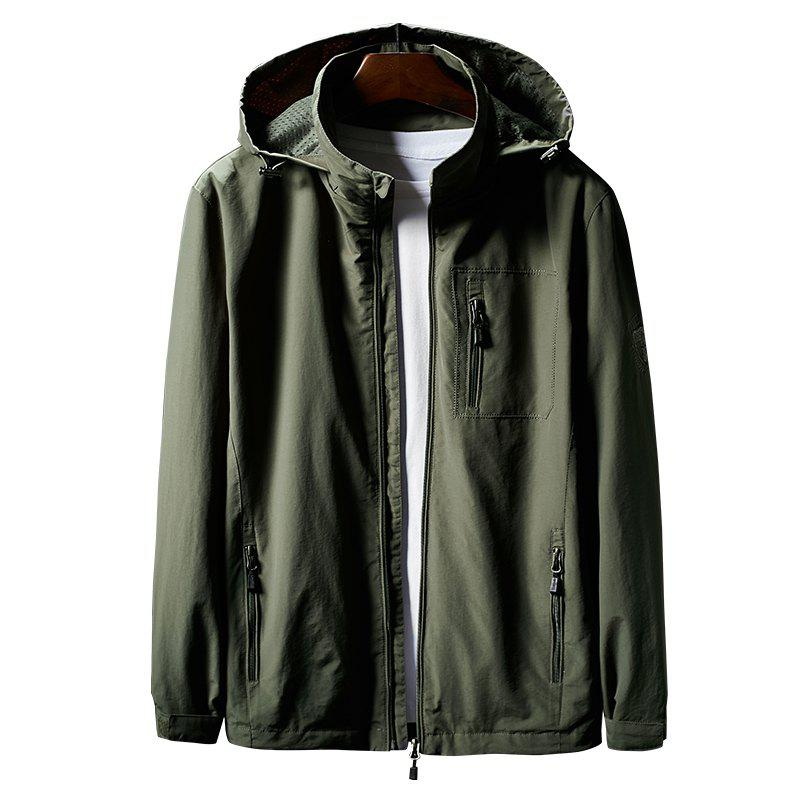 Hooded Zip Up Jacket - ARMYGREEN XL