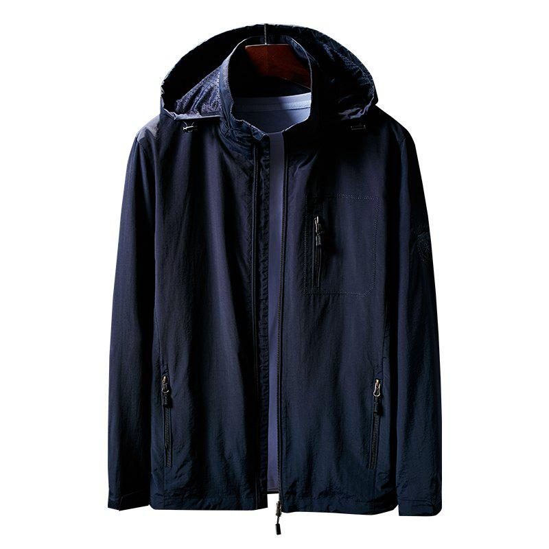 Hooded Zip Up Jacket - CERULEAN M