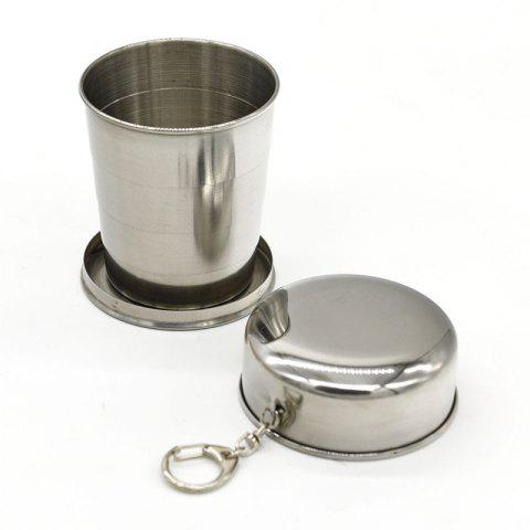 Collapsible Cup Stainless Steel Portable Folding Keychain Cups for Outdoor Travel - SILVER