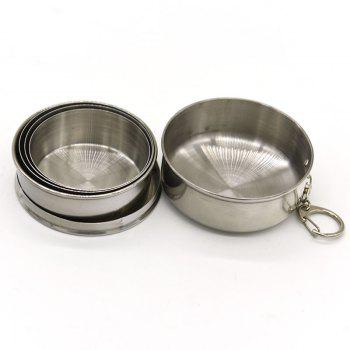 New Collapsible Cup Stainless Steel Portable Folding Metal Telescopic Keychain Cups Mug for Excursion Outdoor Travel - SILVER
