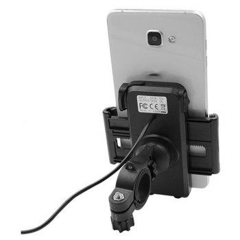 New Universal Motorcycle MTB Bike Handlebar Water-Proof USB Charging Mount Phone Holder for Cell Phone - BLACK