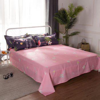 South Cloud 4 Pcs Bedclothes Set Beautiful Flamingo and Leaves Pattern Soft Bed Sheet Set - CADETBLUE KING