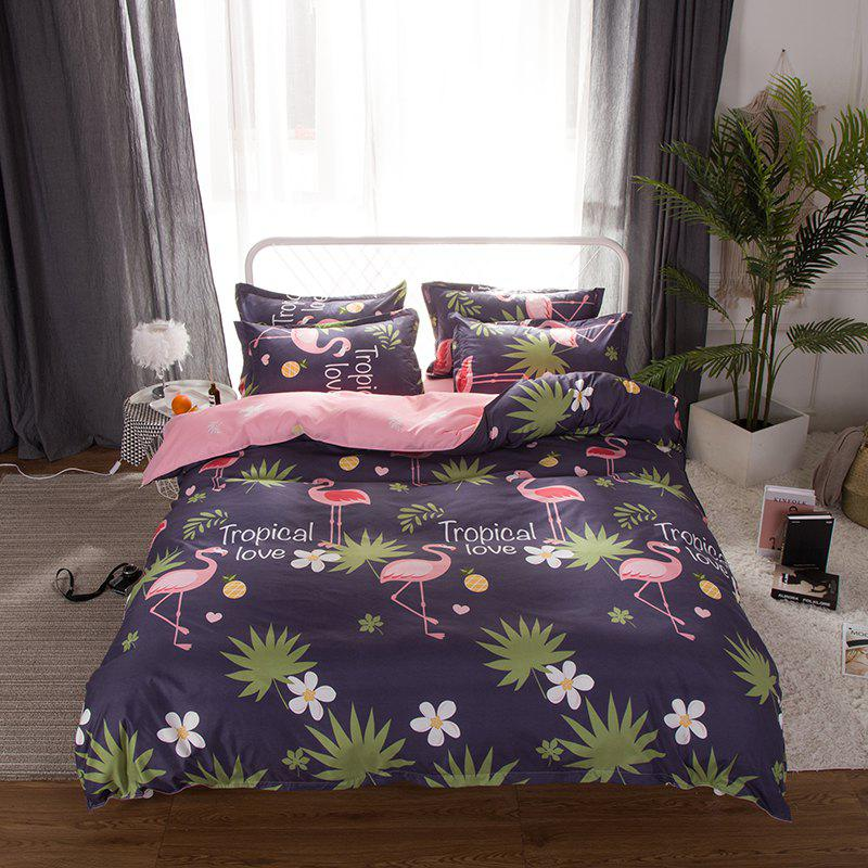 South Cloud 4 Pcs Bedclothes Set Beautiful Flamingo and Leaves Pattern Soft Bed Sheet Set - CADETBLUE EURO KING