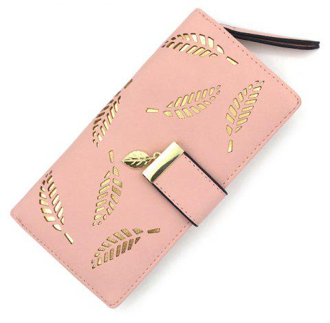 Long Ladies Fashion Hand-Held Hollow Wallet - PINK