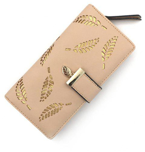 Long Ladies Fashion Hand-Held Hollow Wallet - APRICOT