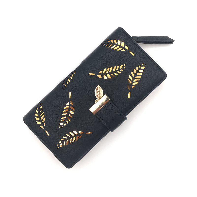Long Ladies Fashion Hand-Held Hollow Wallet - BLACK
