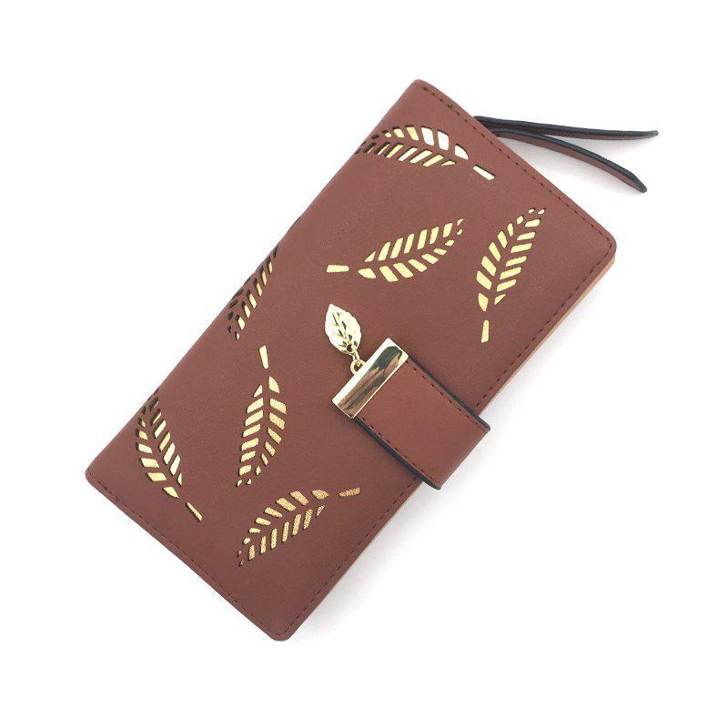 Long Ladies Fashion Hand-Held Hollow Wallet - MOCHA