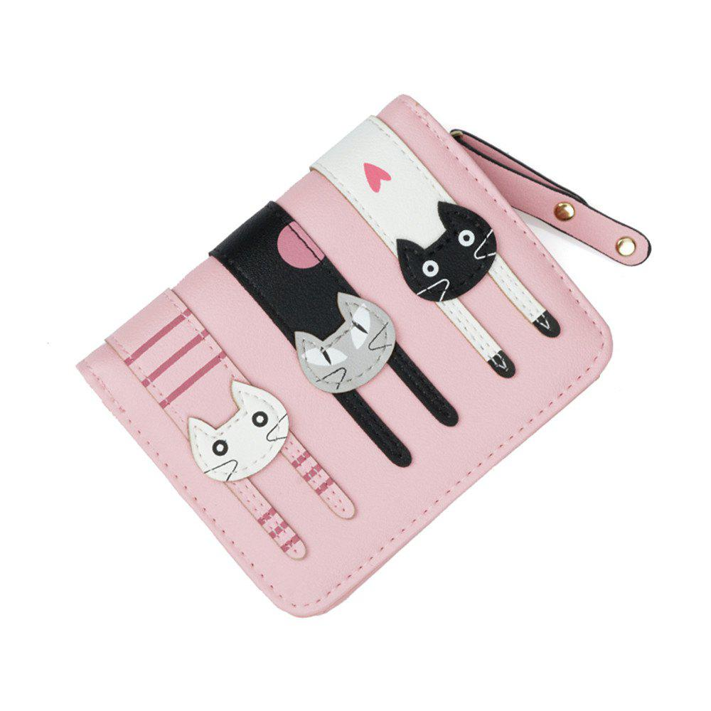 Short Fold Zipper Fresh Cute Three Cat Wallet - PINK