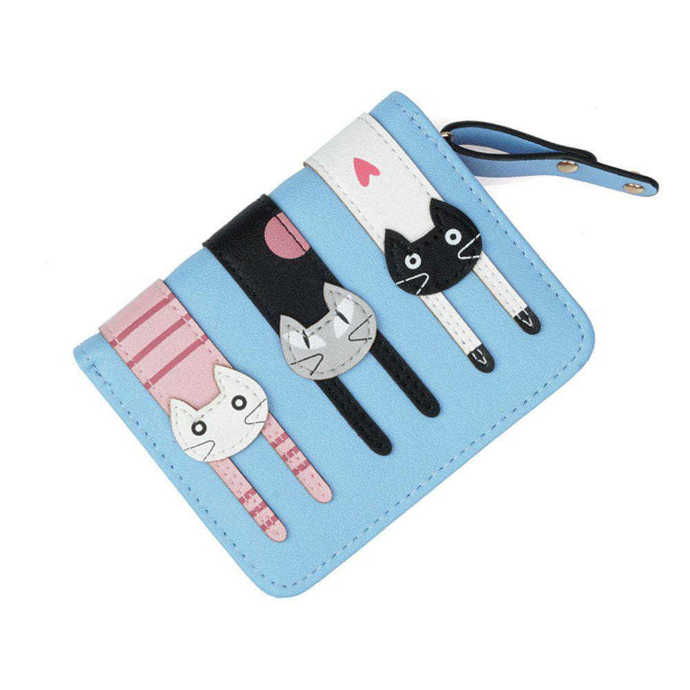 Short Fold Zipper Fresh Cute Three Cat Wallet - AZURE