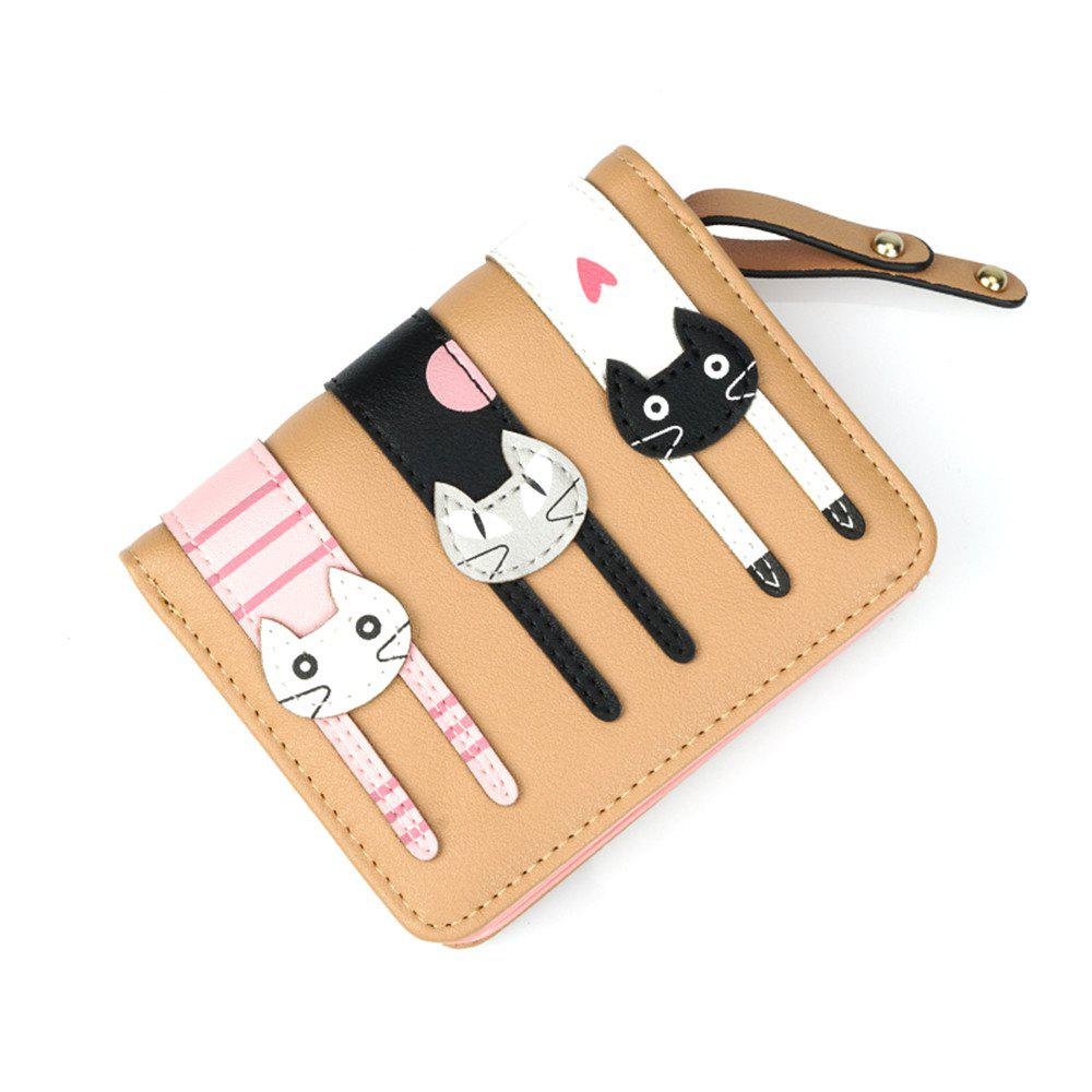 Short Fold Zipper Fresh Cute Three Cat Wallet - MOCHA