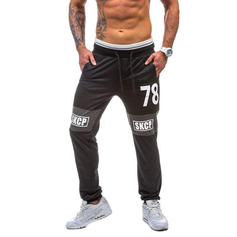 2018 New Spring Casual Fashion Casual 78 Digital Casual Pants - BLACK M