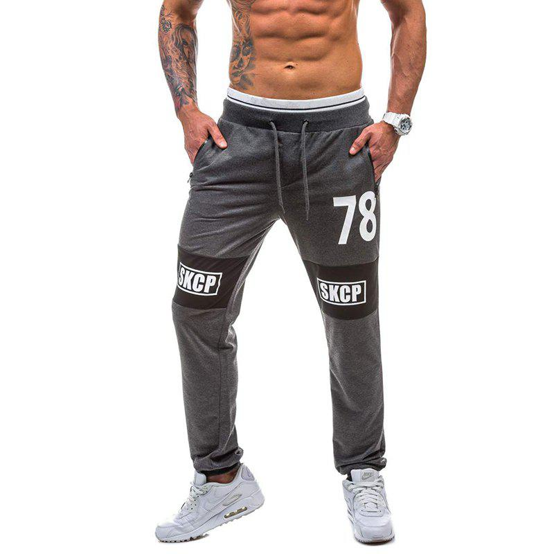 2018 New Spring Casual Fashion Casual 78 Digital Casual Pants - DEEP GRAY M