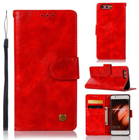 Flip Leather Case PU Wallet Case For Huawei P10 Smart Cover Extravagant Vintage Fashion Phone Bag with Stand - RED