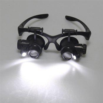 YWXLight Magnifying Glasses With LED Headlamp and Interchangable Headband Jewelry 10X 15X 20X 25X - BLACK