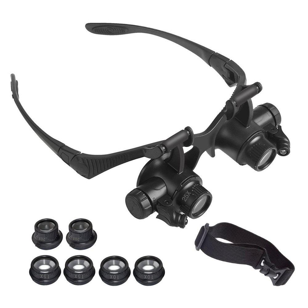 YWXLight Magnifying Glasses With LED Headlamp and Interchangeable Headband Jewelry 10X 15X 20X 25X - BLACK