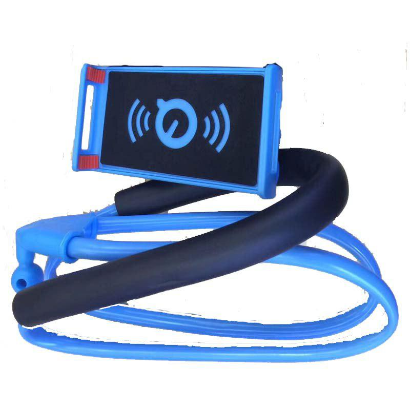 360-Degree Rotating Mobile Phone and Plate Bracket Hanging Around The Neck - BLUE