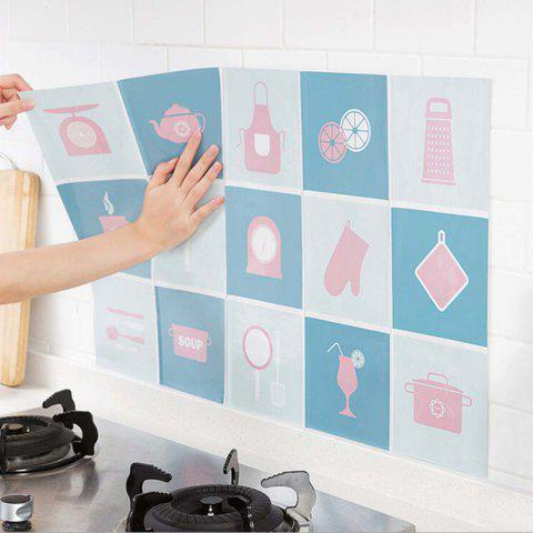 Waterproof Wall Sticker Aluminum Foil Self-adhesive Anti Oil Wallpaper Kitchen Supplies Home Decoration - BABY BLUE