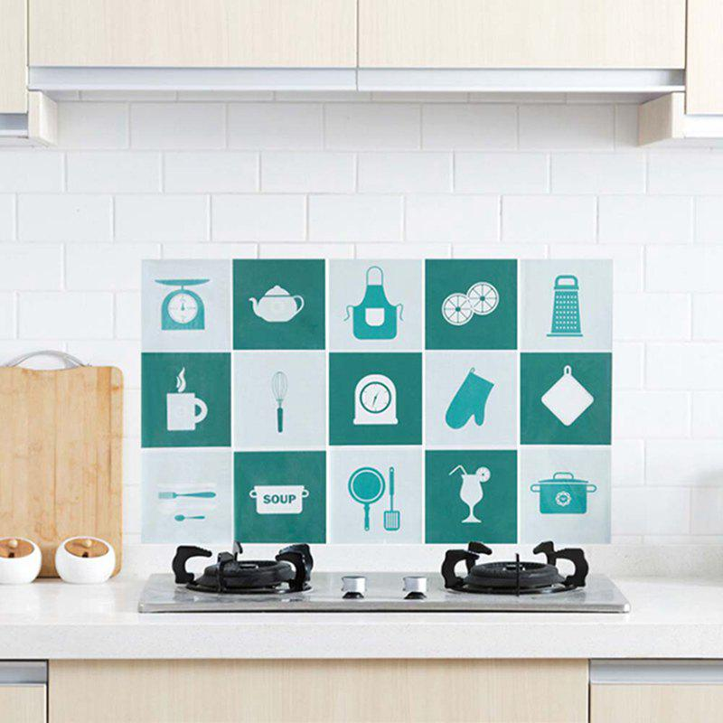 Waterproof Wall Sticker Aluminum Foil Self-adhesive Anti Oil Wallpaper Kitchen Supplies Home Decoration - GREEN