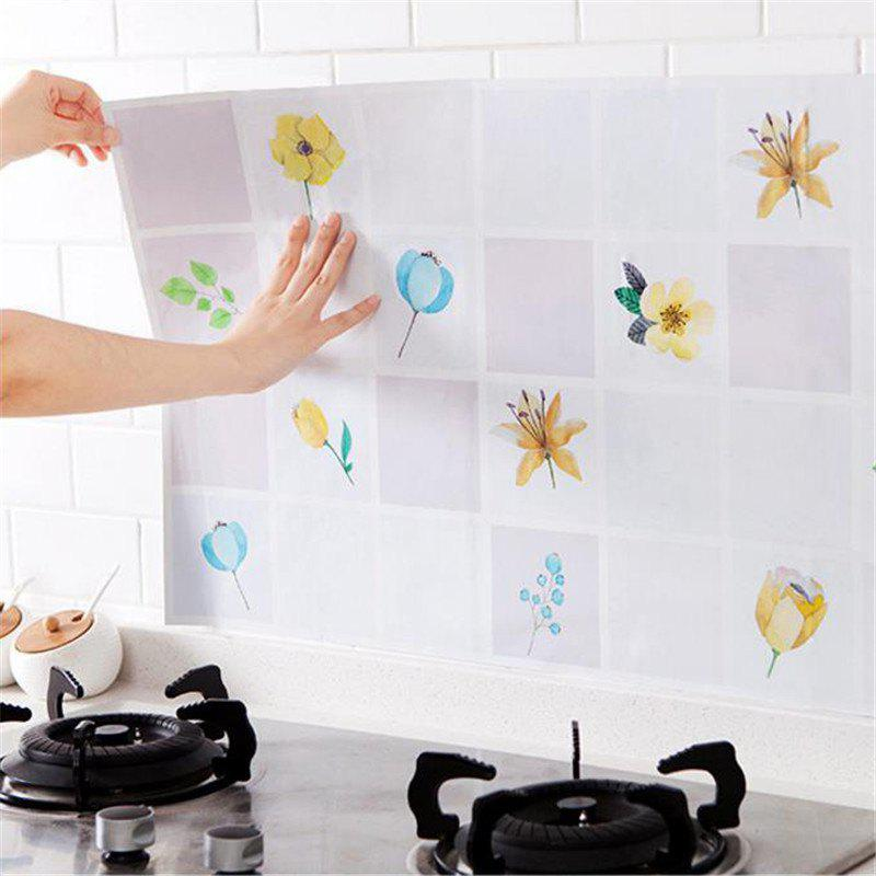 Waterproof Wall Sticker Aluminum Foil Self-adhesive Anti Oil Wallpaper Kitchen Supplies Home Decoration - PURPLE FLOWER