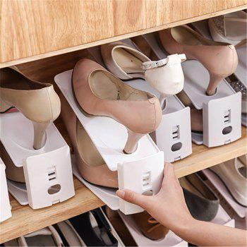 Adjustable Double Layer Simple Shoes Rack Frame Plastic Holder Home Storage Hanger Integrated Save Space - GRAY