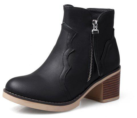 Round Toe Zip Chunky Heel Ankle Boots - BLACK 38