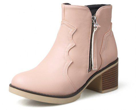 Round Toe Zip Chunky Heel Ankle Boots - PIG PINK 35