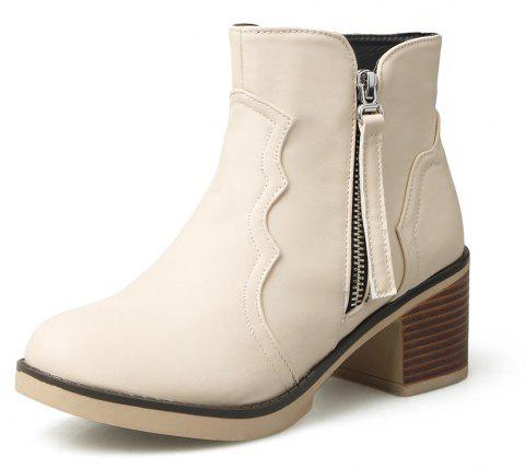 Round Toe Zip Chunky Heel Ankle Boots - BEIGE 35