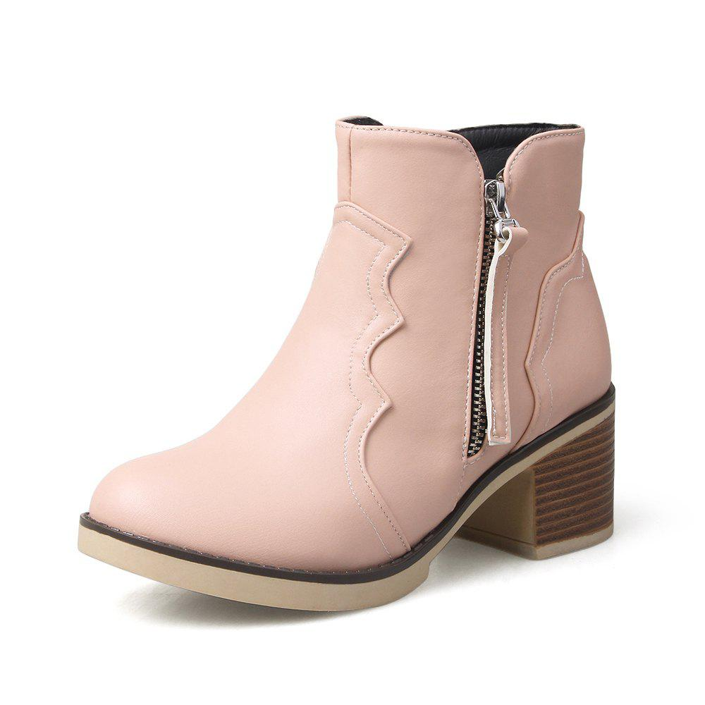 Round Toe Zip Chunky Heel Ankle Boots - PIG PINK 39