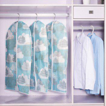 Printed and Thickened Washable Suit Overcoat Dustproof Cover Storage Bag - LIGHT BLUE SIZE L