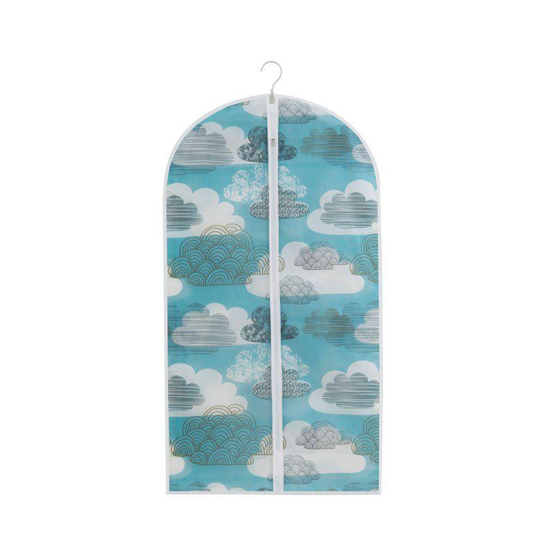 Printed and Thickened Washable Suit Overcoat Dustproof Cover Storage Bag - LIGHT BLUE SIZE M