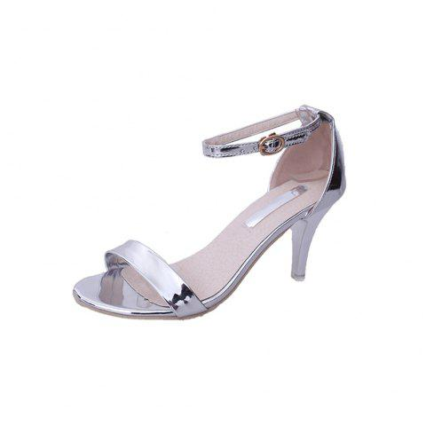 Fine with Sexy Ferret Toe Buckle Simple Sandals - SILVER 38