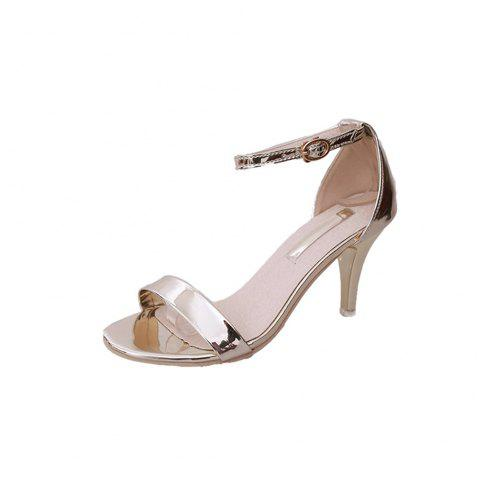 Fine avec Sexy Ferret Toe Buckle Sandales simples - Or 35