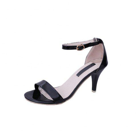 Fine with Sexy Ferret Toe Buckle Simple Sandals - BLACK 35