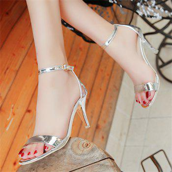 Fine with Sexy Ferret Toe Buckle Simple Sandals - SILVER 35