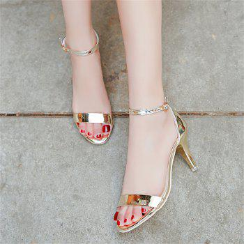 Fine with Sexy Ferret Toe Buckle Simple Sandals - GOLD 34