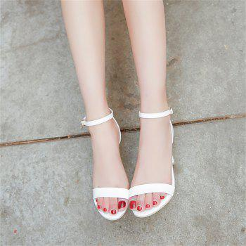 Fine with Sexy Ferret Toe Buckle Simple Sandals - WHITE 34