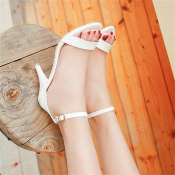 Fine with Sexy Ferret Toe Buckle Simple Sandals - WHITE 39
