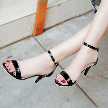 Fine with Sexy Ferret Toe Buckle Simple Sandals - BLACK 34