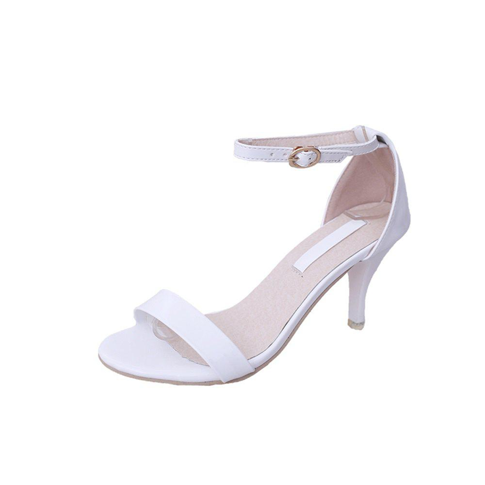 Fine with Sexy Ferret Toe Buckle Simple Sandals - WHITE 37