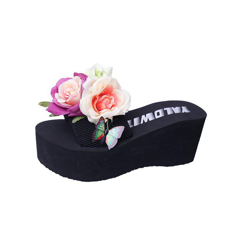 Big Flowers Thick Bottom Sand Slippers - BLACK 40