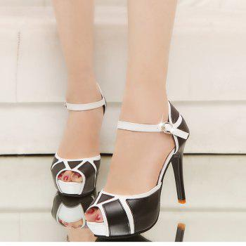Super High Heel Waterproofing Table Buckle Fish Mouth Sandals - BLACK 34