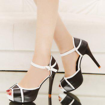 Super High Heel Waterproofing Table Buckle Fish Mouth Sandals - BLACK 38