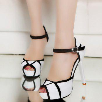 Super High Heel Waterproofing Table Buckle Fish Mouth Sandals - WHITE 35
