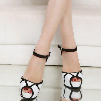 Super High Heel Waterproofing Table Buckle Fish Mouth Sandals - WHITE 34