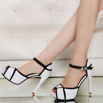 Super High Heel Waterproofing Table Buckle Fish Mouth Sandals - WHITE 37