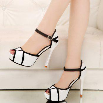 Super High Heel Waterproofing Table Buckle Fish Mouth Sandals - WHITE 39