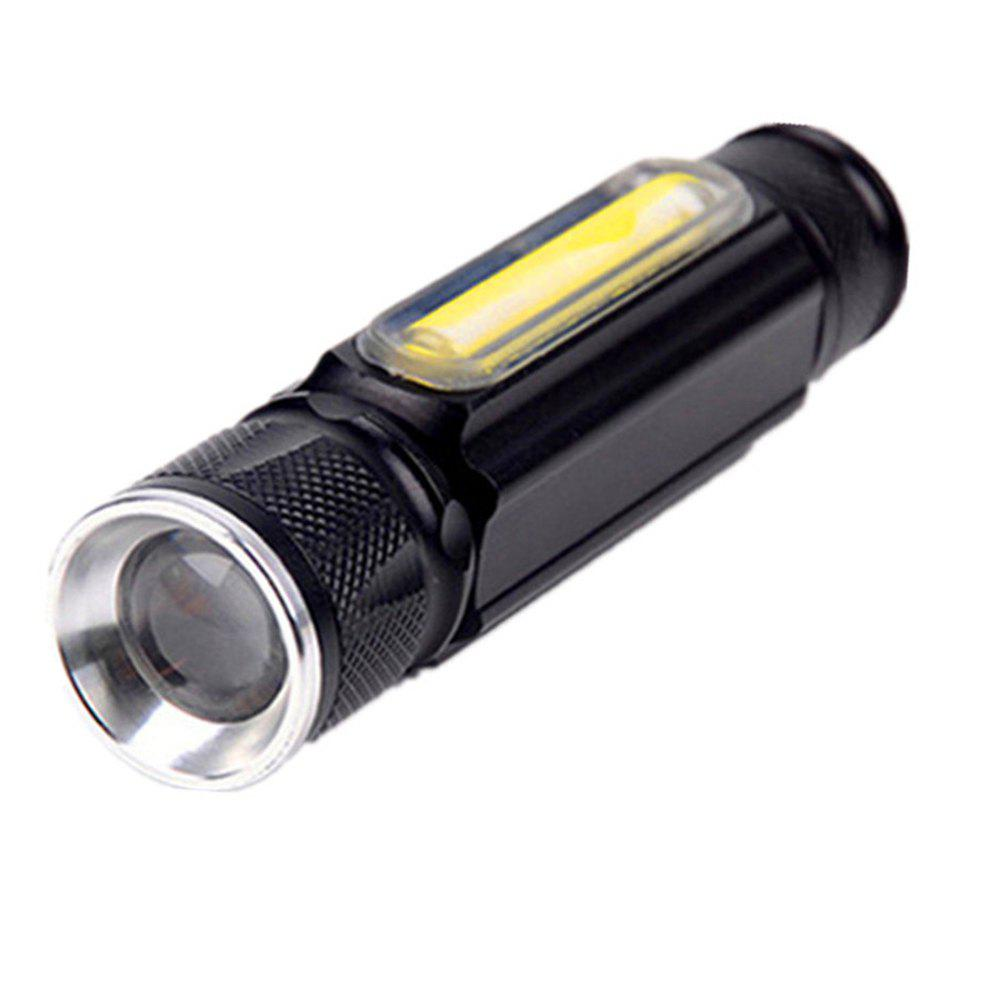 HKV LED USB Flashlight 4 Modes Zoomable Tactical Flashlights XML T6 COB Magnet Torch for Outdoor Camping - BLACK