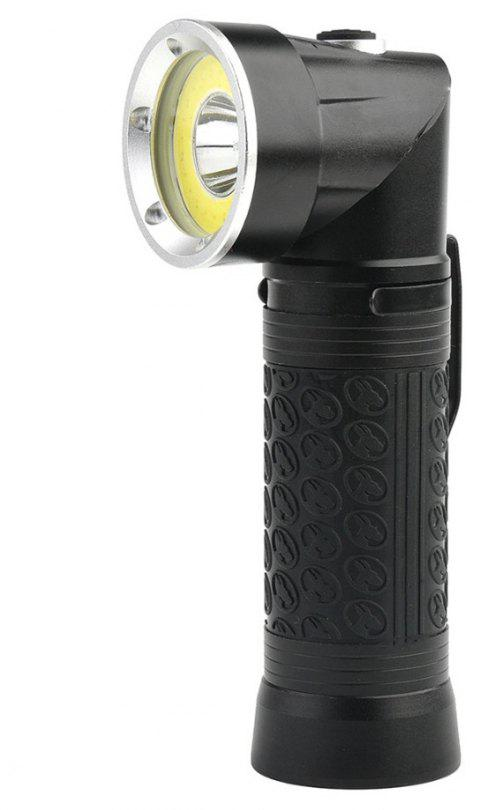 HKV Powerful LED Flashlight 18650 T6+COB Fold Multifunction Torch Light for Hunting Camping Search Lamp - BLACK